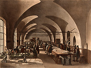 The Stamp Office, Somerset House, London.  Tax is being paid on legal documents which are then endorsed or 'stamped'  using the iron screw stamping presses in the left foreground.  Illustration by Thomas Rowlandson and Augustus Charles Pugin   for 'The Microcosm of London' by William Henry Pyne and William Combe (London, 1808-1811). Aquatint.