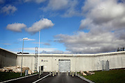 The entrance of the luxurious Halden Fengsel (prison) is photographed from the street nearby in Halden, near Oslo, Norway.