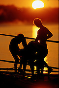 Sydney, AUSTRALIA, A crew prepares to boat for an early morning training session, at the 2000 Olympic Regatta, Penrith Lakes. [Photo Peter Spurrier/Intersport Images] 2000 Olympic Rowing Regatta00085138.tif