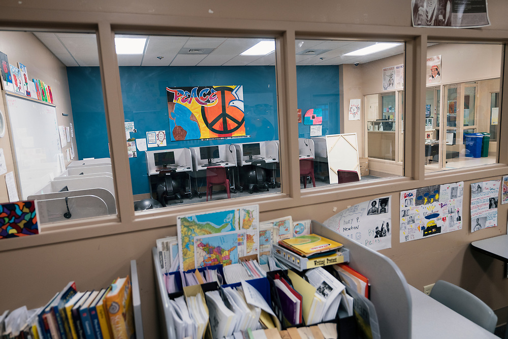 A view of the shared classroom space from the library inside the Juvenile Detention Center at the City County Building in Madison, Wisconsin, Wednesday, June 12, 2019.