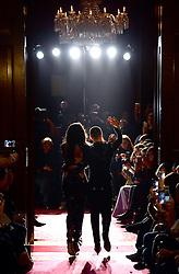 Julien Macdonald and model Winnie Harlow at the Julien Macdonald Autumn/Winter 2017 London Fashion Week show at Goldsmiths' Hall, London. Photo credit should read: Doug Peters/ EMPICS Entertainment