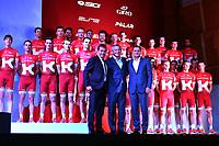 Alexandre KRISTOFF (Nor), Jurgen VAN DEN BROECK (Bel), Simon SPILAK (Slo), Joaquin RODRIGUEZ (Esp), Alexandre KRISTOFF (Nor), Ilnur ZAKARIN (Rus), Rei TAARAMAE (Est), Igor MAKAROV (Rus) Team owner, Viatcheslav EKIMOV (Rus) Team manager, during the Team Katusha 2016 Presentation, in Calpe, Spain, on December 15, 2015 - Photo Tim de Waele / DPPI