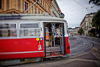 View of a tram driver on a break, Vienna, Austria.