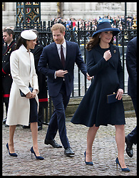 March 12, 2018 - London, London, United Kingdom - Image licensed to i-Images Picture Agency. 12/03/2018. London, United Kingdom. Duke and Duchess of Cambridge, Prince Harry and Meghan Markle arriving at the  Commonwealth Day Service at Westminster Abbey in London. (Credit Image: © Stephen Lock/i-Images via ZUMA Press)