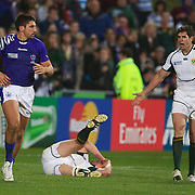 Paul Williams, Samoa, (left) is sent off for striking Heinrich Briussow, South Africa, (on ground)  during the South Africa V Samoa, Pool D match during the IRB Rugby World Cup tournament. North Harbour Stadium, Auckland, New Zealand, 30th September 2011. Photo Tim Clayton...