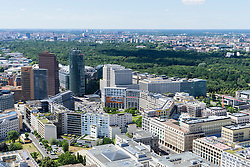 Skyline of Berlin towards Potsdamer Platz and Tiergarten in Germany