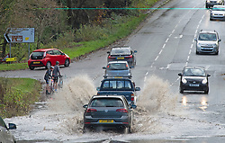 © Licensed to London News Pictures. 15/11/2020.  <br /> Wrotham, UK. Flooding on the A20 in Wrotham near Brands Hatch in Kent. Over one hundred flood alerts are put in place by the Met Office today as the UK is hit with heavy overnight rain and gale force winds. Photo credit:Grant Falvey/LNP