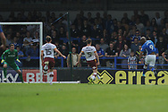 Rochdale Forward, Calvin Andrew (9) shoots EFL Sky Bet League 1 match between Rochdale and Bradford City at Spotland, Rochdale, England on 21 April 2018. Picture by Mark Pollitt.