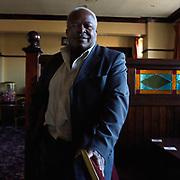 Portrait of Vernon Soloman, landlord of the Parson Cross pub, Sheffield, South Yorkshire, UK