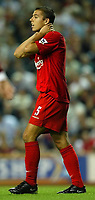 Photo Aidan Ellis.<br />Liverpool v Tottenham Hotspur.<br />FA Barclaycard Premiership.<br />27/08/2003.<br />Liverpool's Milan Baros comes close to scoring