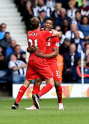 Jordon Ibe of Liverpool celebrates with Lucas Leiva of Liverpool   - Mandatory by-line: Joe Meredith/JMP - 15/05/2016 - FOOTBALL - The Hawthorns - West Bromwich, England - West Bromwich Albion v Liverpool - Barclays Premier League