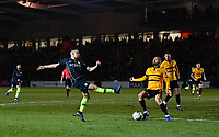 Football - 2018 / 2019 Emirates FA Cup - Fifth Round: Newport County vs. Manchester City<br /> <br /> Manchester City's Phil Foden crosses the ball despite the attentions of Newport County's Dan Butler, at Rodney Parade.<br /> <br /> COLORSPORT/ASHLEY WESTERN