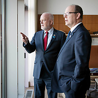 Peter Thomson, President of the 71st session of the General Assembly meets with Prince Albert II of Monaco during The Ocean Conference on June 07, 2017.