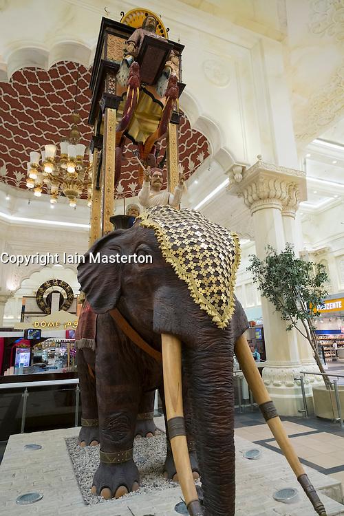 Elephant statue at India Court at Ibn Battuta shopping mall in Jebel Ali district Dubai United Arab Emirates