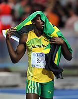 Friidrett<br /> VM 2009 Berlin<br /> 16.08.2009<br /> Foto: Witters/Digitalsport<br /> NORWAY ONLY<br /> <br /> 16.08.2009<br /> <br /> Usain Bolt Jamaica<br /> <br /> Weltmeister in 100m, mit neuer Weltrekordzeit von 9.58 Sekunden