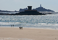 Surfing at St Ouens Bay, Jersey