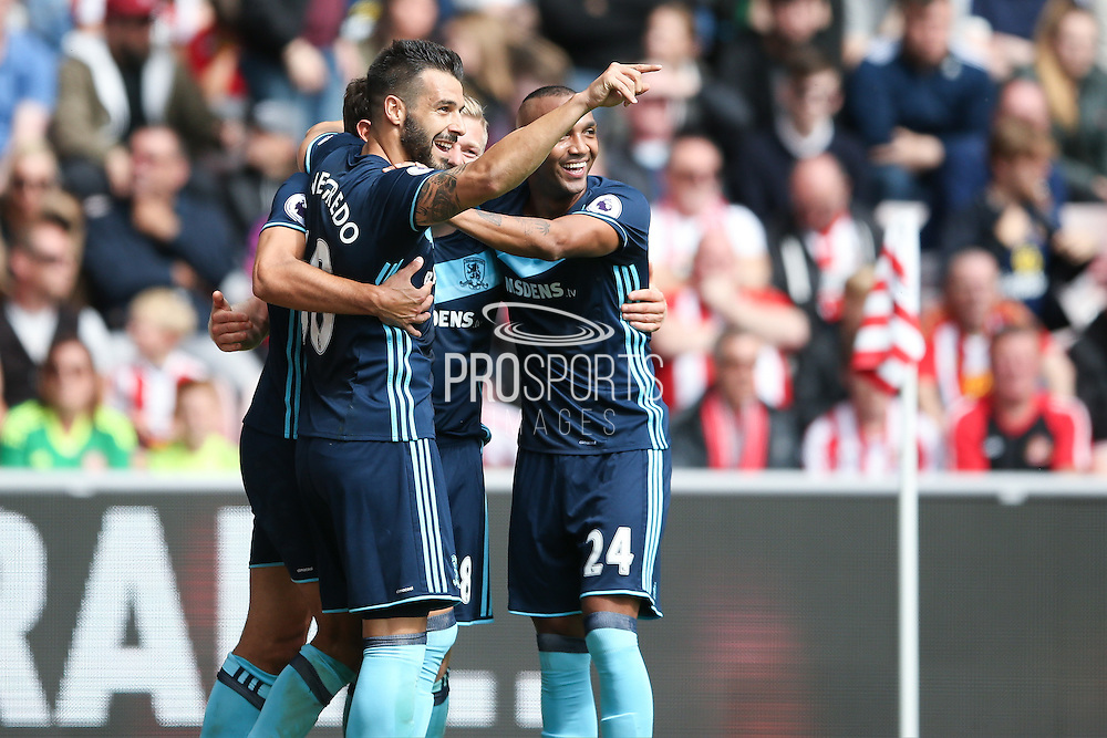 Middlesbrough forward Christian Stuani (18) scores a goal and celebrates to make the score 0-2 during the Premier League match between Sunderland and Middlesbrough at the Stadium Of Light, Sunderland, England on 21 August 2016. Photo by Simon Davies.