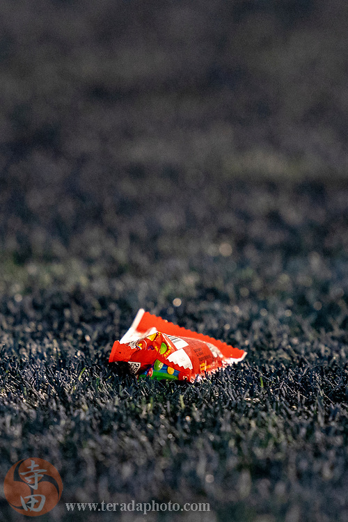 December 29, 2019; Seattle, Washington, USA; A bag of Skittles lays on the end zone after Seattle Seahawks running back Marshawn Lynch (24) scored a touchdown during the fourth quarter against the San Francisco 49ers at CenturyLink Field.
