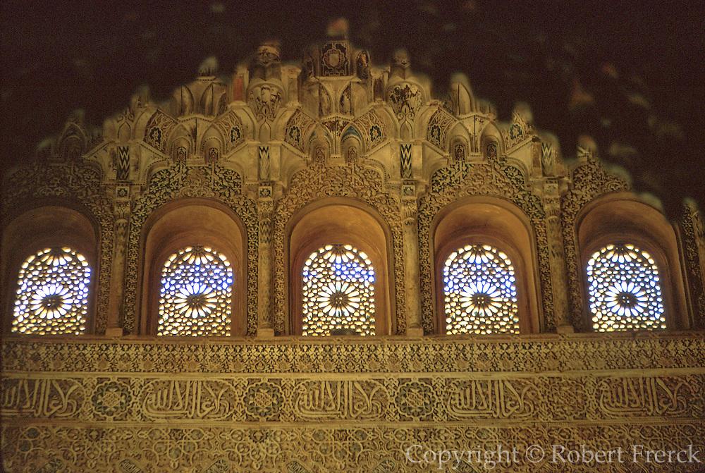 SPAIN, ANDALUSIA, GRANADA Alhambra; plaster ornamentation