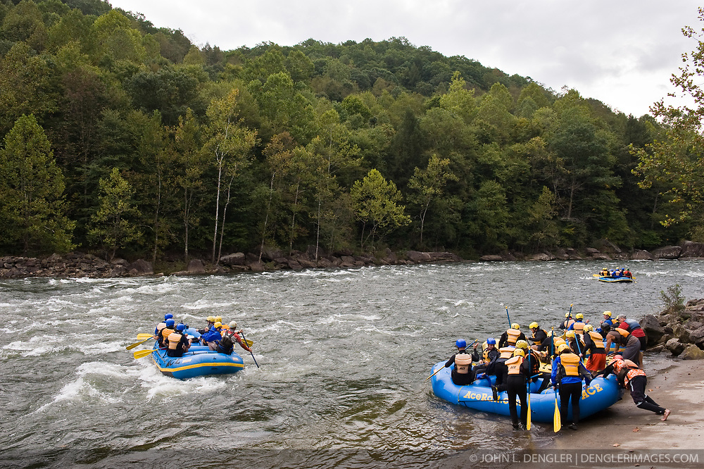River guides and their clients prepare to run the Gauley River during American Whitewater's Gauley Fest weekend. The upper Gauley, located in the Gauley River National Recreation Area is considered one of premier whitewater rivers in the country.
