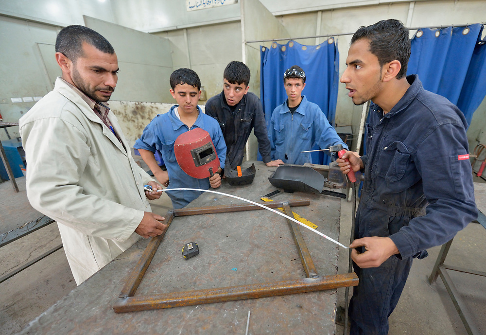 A metalworking class in the Vocational Training Center in Gaza City, Gaza. The center is run by the Department of Service for Palestinian Refugees of the Near East Council of Churches, a member of the ACT Alliance, and funded in part by the Pontifical Mission for Palestine.