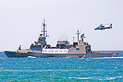 Israeli Air force helicopter, Eurocopter HH-65 Dauphin used by the Israeli Navy. Coming in to land on a missile boat