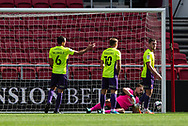 GOAL 2-0 Exeter players see the ball in the back of their net. Bristol City's Antoine Semenyo (not in picture) scores his sides second goal during the EFL Cup match between Bristol City and Exeter City at Ashton Gate, Bristol, England on 5 September 2020.