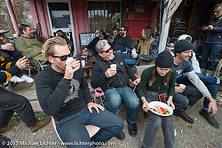 The Cycle Zombies' family takes lunch together. Scotty, Big Scott and Chase Stopnik on the Blue Groove shop ride from Kamakura to Miura Penninsula. Japan. Monday December 4, 2017. Photography ©2017 Michael Lichter.
