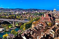 The Kirchenfeldbrucke (bridge) over the Aare River, Bern, Canton Bern, Switzerland