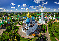 Aerial view of Dormition Cathedral at Sergiyev Posad, Russia