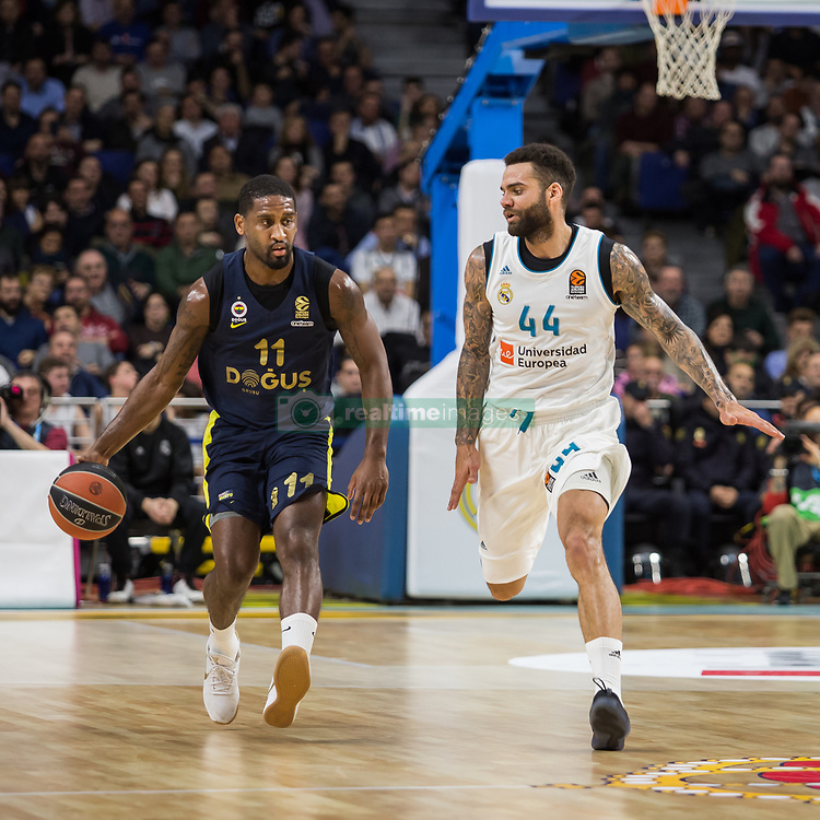 March 2, 2018 - Madrid, Madrid, Spain - Brad Wannamaker (L) and Jeffery Taylor (R) during Fenerbahce Dogus Istanbul victory over Real Madrid (83 - 86) in Turkish Airlines Euroleague regular season game (round 24) celebrated at Wizink Center in Madrid (Spain). March 2nd 2018. (Credit Image: © Juan Carlos Garcia Mate/Pacific Press via ZUMA Wire)