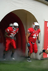24 September 2011: Tim Dawson (91) exits the player tunnel during an NCAA football game between the South Dakota State Jackrabbits (SDSU) and the Illinois State Redbirds (ISU) at Hancock Stadium in Normal Illinois.