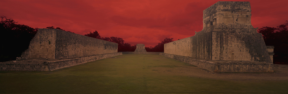 Mayan Ball Court in Chichen Itza with Doomsday Sky