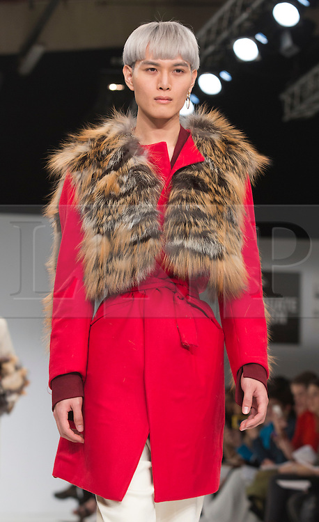 © Licensed to London News Pictures. 02/06/2015. London, UK. Collection by Vito Michele Nitti of IED. Samsonite International Catwalk Competition takes place during Graduate Fashion Week 2015. Graduate Fashion Week takes place from 30 May to 2 June 2015 at the Old Truman Brewery, Brick Lane. Photo credit : Bettina Strenske/LNP