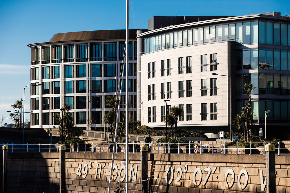 Commercial & corporate buildings on the waterfront at Liberty Wharf in the business & finance district of St Helier, Jersey, CI