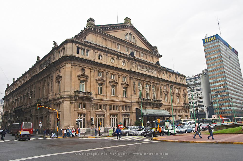 Teatro Colon opera theatre across the Avenida 9 Julio Avenue of ninth of July. Buenos Aires Argentina, South America
