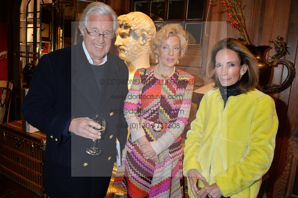 ***UK_MAGAZINES_OUT***<br /> LONDON, ENGLAND 30 NOVEMBER 2016: <br /> Left to right, Martin Summers, Wendy Countess Caledon, Anne Summers at the launch of In The Spirit of Gstaad at Maison Assouline, Piccadilly, London hosted by Mandolyna Theodoracopulos and Homera Sahni England. 30 November 2016.