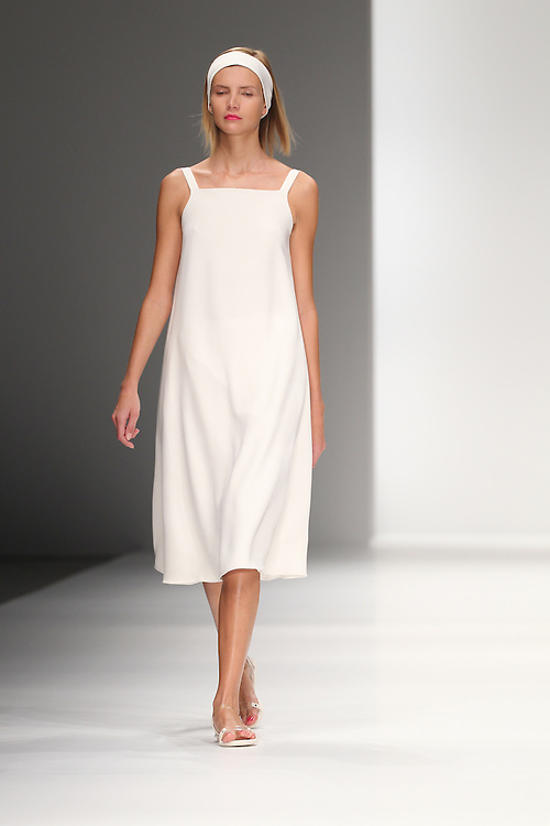 Models walk the catwalk for the Jasper Conran show during the Spring 2012 London Fashion Week.
