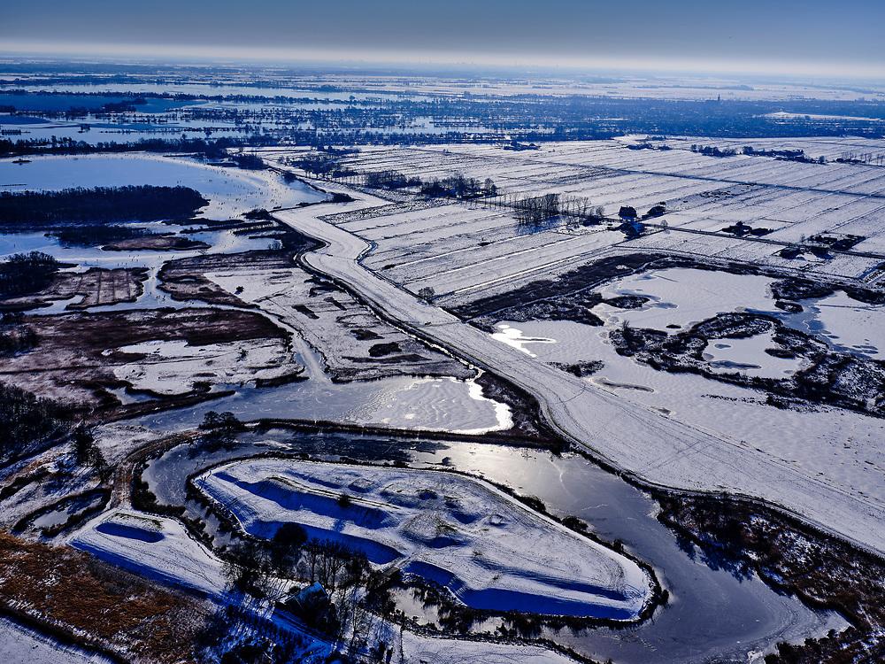 Nederland, Noord-Holland, Ronde Venen, 13-02-2021; Fort in de Botshol, Natuurreservaat Botshol (tussen Vinkenveen en Ouderkerk).<br /> Ancient fortress.<br /> <br /> luchtfoto (toeslag op standaard tarieven);<br /> aerial photo (additional fee required)<br /> copyright © 2021 foto/photo Siebe Swart