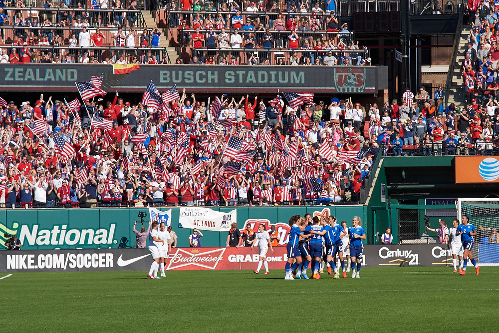 USA Women's Soccer vs New Zealand at Busch Stadium on April 4, 2015 for a stand-alone Women's National Team home friendly.