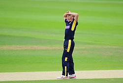 Ryan McLaren of Hampshire reacts to a chance.  - Mandatory by-line: Alex Davidson/JMP - 02/08/2016 - CRICKET - The Ageas Bowl - Southampton, United Kingdom - Hampshire v Somerset - Royal London One Day