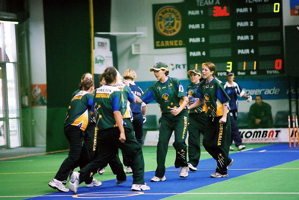 Australian Under 19 Girls celebrate a wicket against ultimate Under 19 tournament champions, South Africa.<br /> 2003 Indoor Cricket World Under 19 Championships, Christchurch, New Zealand
