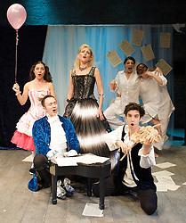 Prima La Musica<br /> Opera At Home Ensemble<br /> at The Arcola Theatre, London, Great Britain <br /> 25th August 2011 <br /> Rehearsal <br /> Grimeborn The Opera Festival<br /> directed by Jose Manuel Gandia<br /> <br /> Benjamin Gould (as Zanni 1)<br /> <br /> Leah Cooper (as Zanni 2)<br /> <br /> Victor Sgarbi (as Maestro)<br /> <br /> Alexia Mankovskaya (as Eleonora)<br /> <br /> Merrin Lazyan (as Tonina)<br /> <br /> Dario Dugandzic (as Poeta)<br /> <br /> <br /> Photograph by Elliott Franks