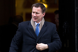 © Licensed to London News Pictures. 27/03/2018. London, UK. Health and Social Care Secretary Jeremy Hunt leaving Downing Street after attending a Cabinet meeting this morning. Photo credit : Tom Nicholson/LNP