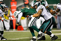Philadelphia Eagles defensive end Jason Babin #94 makes a sack during the NFL game between the Philadelphia Eagles and the New York Jets on September 3rd 2009. The Jets won 38-27 at Giants Stadium in East Rutherford, NJ.  (Photo By Brian Garfinkel)
