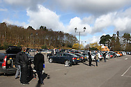 Photographers and other media gather in the car park before the England elite player squad trainnig session at Pennyhill Park, Bagshot, UK, on 11th March 2011  (Photo by Andrew Tobin/SLIK images)