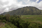 General view of one of the areas of Sembalun Lawang, Sembalun district, East Lombok, West Nusa Tenggara province. This village is nested in a small valley between the foothills of the Rinjani volcano and other hills, making it very vulnerable to floods.