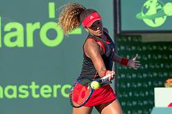 March 21, 2018 - Key Biscayne, FL, U.S. - KEY BISCAYNE, FL - MARCH 21: Naomi Osaka (JPN) in action during the Miami Open on March 21, 2018, at the Tennis Center at Crandon Park in Key Biscayne, FL. (Photo by Andrew Patron/Icon Sportswire) (Credit Image: © Andrew Patron/Icon SMI via ZUMA Press)