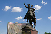 Uzbekistan, Tashkent.<br /> Amir Timur (Tamerlane) statue, Hotel Uzbekistan.
