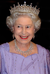File photo dated 02/11/2004 of Queen Elizabeth II arriving for the State Banquet at Zeugaus in Berlin, Germany wearing the Queen Mary's Girls of Great Britain and Ireland Tiara. Princess Eugenie may follow in the footsteps of her mother, Sarah Ferguson, Duchess of York, and wear the York diamond tiara on her wedding day.